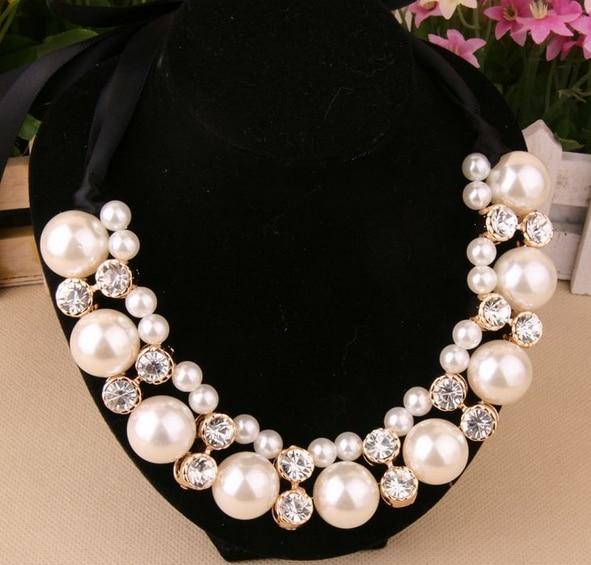 Envío Gratis Nueva Moda Rhinestone Perla Simulada Cinta Gargantilla Collares de Perlas de Mujeres Accesorios Regalos