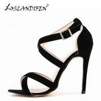 LOSLANDIFEN New Gladiator Women Sandals Flock Black Shoes Open Toe Cross Tied High Heels Female Sandals