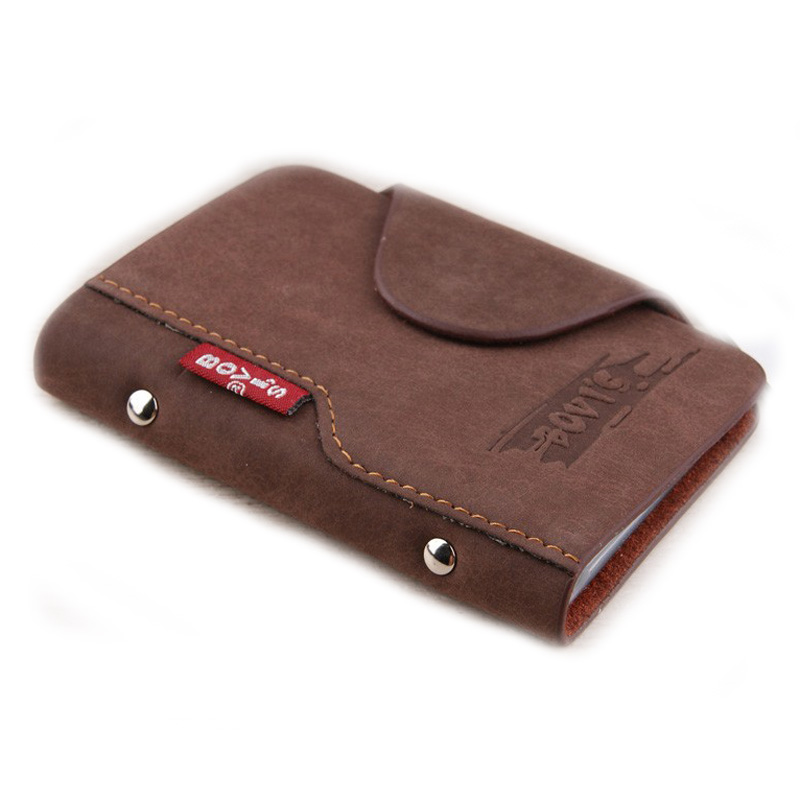 BOVIS Leather Business Card Holder Vintage Credit Card Holder Hasp ...