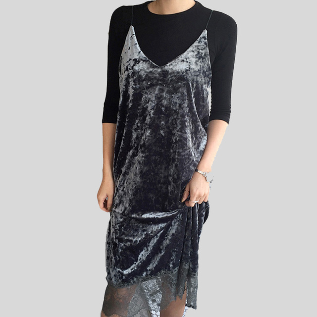 Sexy gray Lace Velvet Dresses Slip Backless Spaghetti Strap Long Evening Party Robe Side Split 2017 Cami tassel Velour Dress