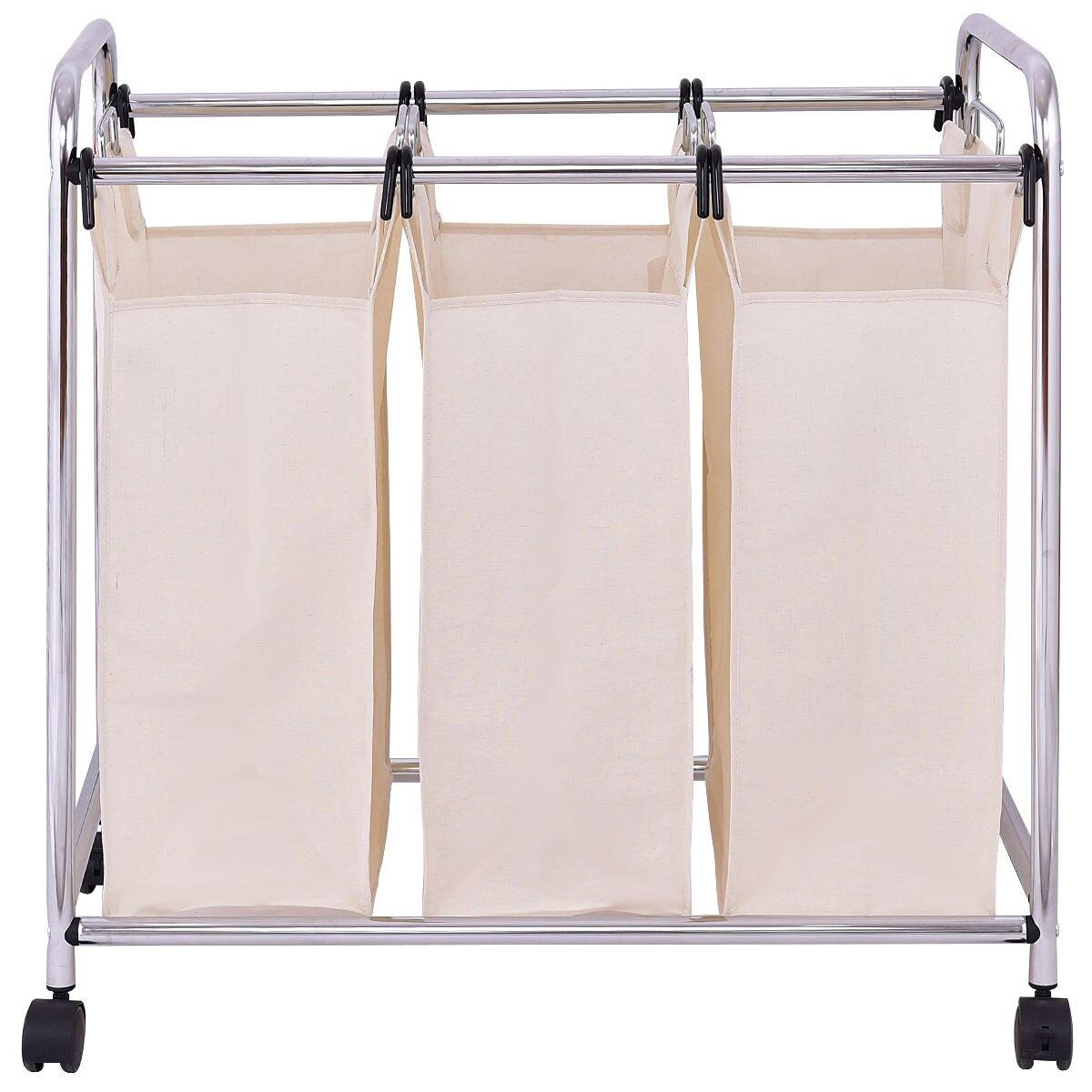 Goplus Laundry Cart Basket Triple Bag Sorter Portable Bathroom Hamper Bins Rolling Dirty Clothes Storage HW55257
