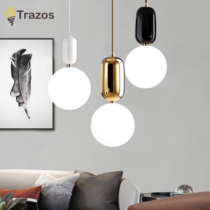 TRAZOS nouveau moderne pendentif LED lumières E27 rond blanc herbe à manger lumière herbe abat-jour Suspension lampe fer Suspension éclairage