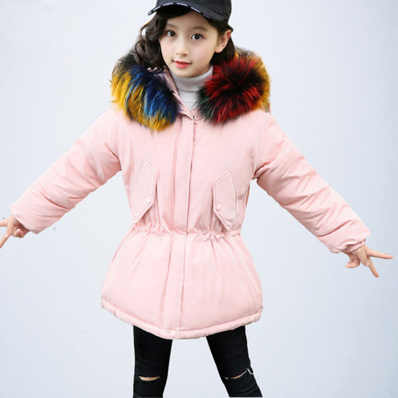 Kids Down Jacket Hooded Winter Warm Parka Russian Toddler Girls Winter Coats and Jackets Thick Children's Winter Coat with Fur winter jacket women 2017 army green coat real raccoon fur collar hooded warm down jacket parka womens coats and jackets dhl free