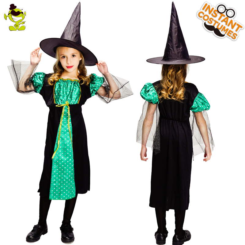 New Arrival Kid Witch Dress Costume Fancy Dress in Halloween Party Girls Beautiful Witch Cosplay Costumes
