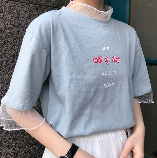 YouGeMan Tee Shirt Women Clothing Korean Style Ulzzang Harajuku Mesh Patchwork Fake 2 Piece Short Sleeve T-shirt Female Tee Tops