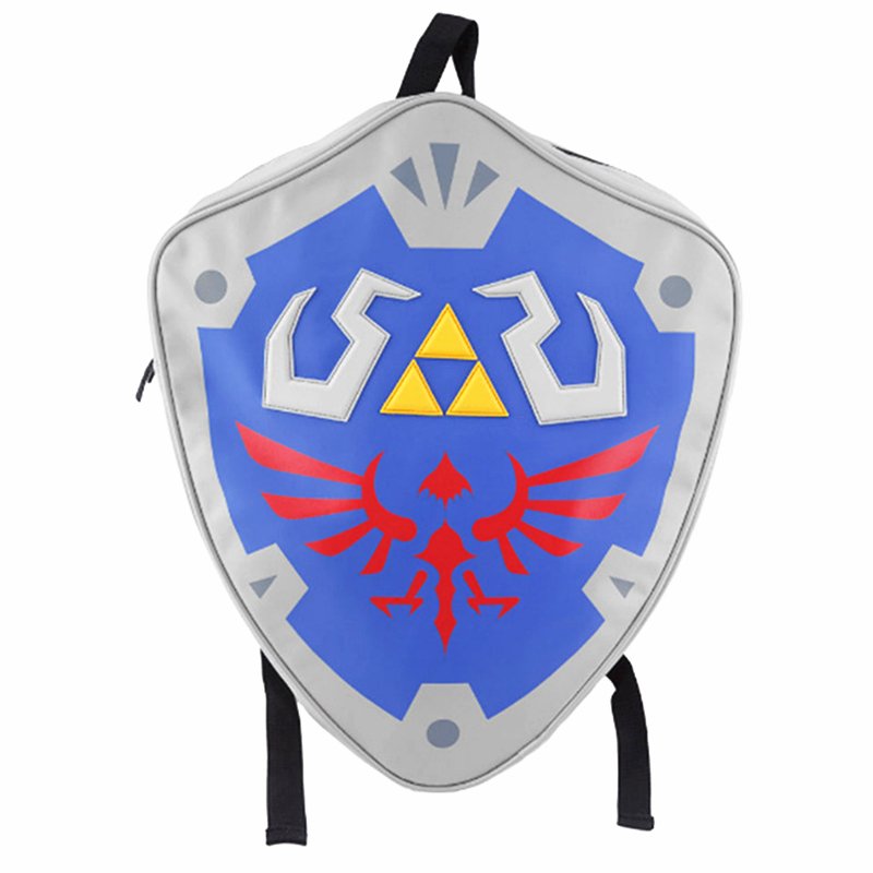 High Quality The Legend of Zeld Cosplay Backpacks Zelda link Shield Backpack PU Bag in Tag Christmas Gift Cosplay Bags аксессуары для косплея cosplay