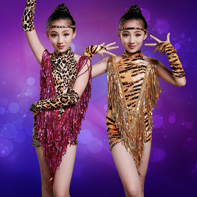 ebd9aab692 leopard costumes leotard child sexy skirt children latin for girls fringe  dance ballroom competition dresses tango