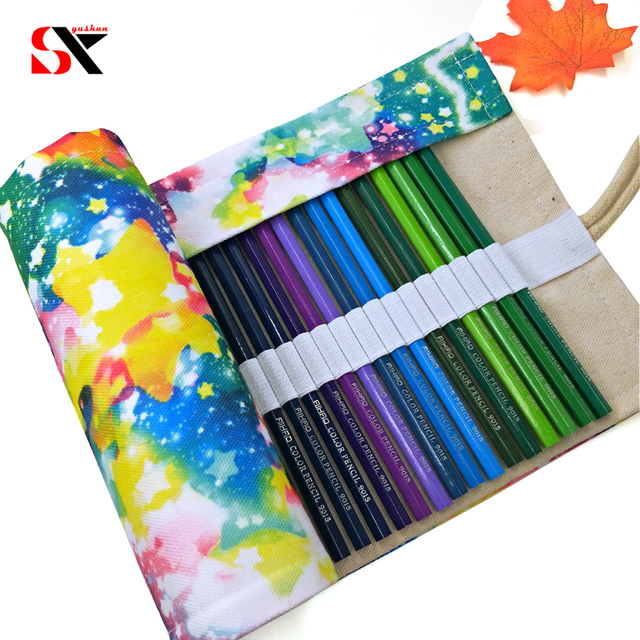 10 different Canvas School Pencil case 36/48Holes Roll Up Pencil bag Portable Pen Box Roll Pouch Storage Large box  Supplie gift