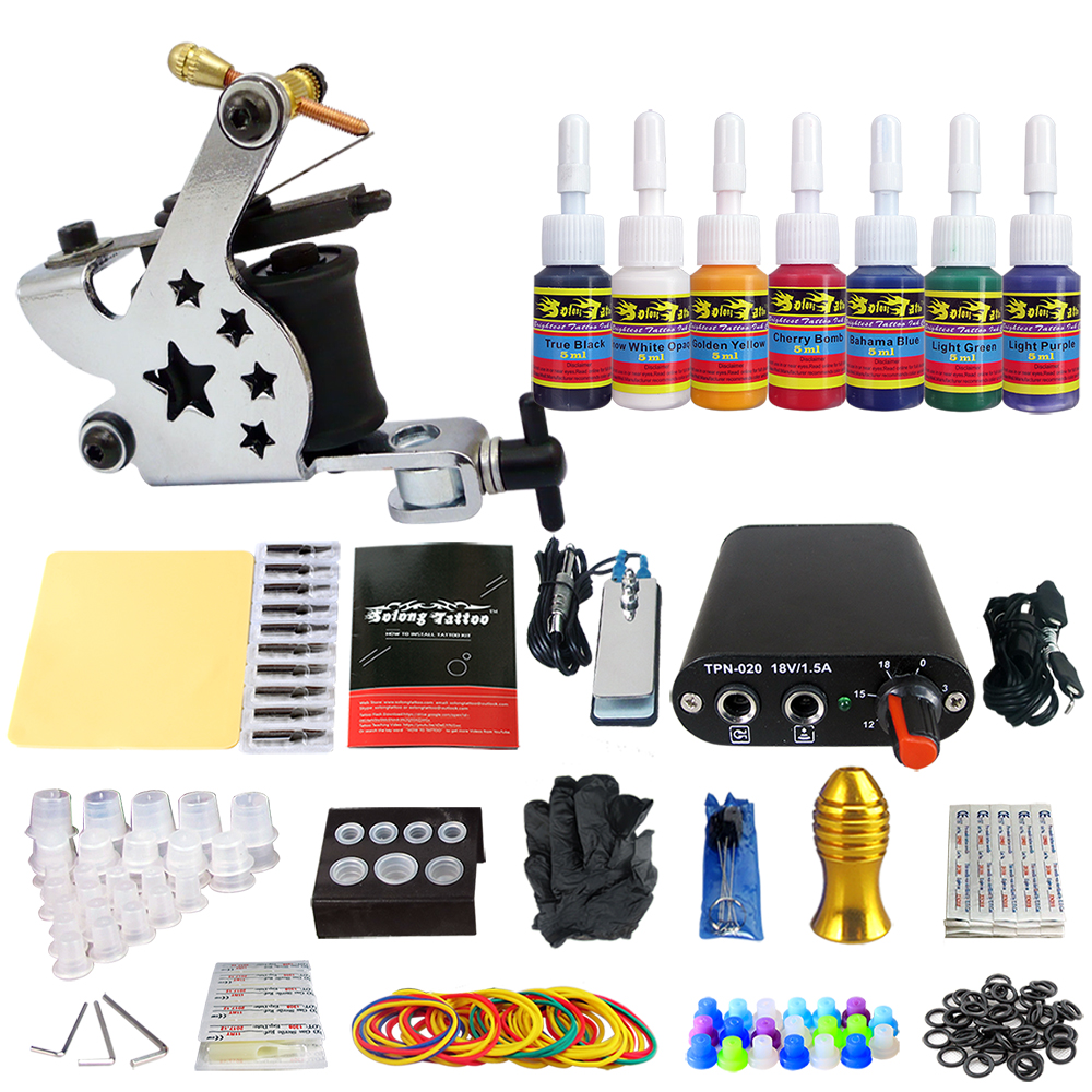Hybrid Complete Tattoo Coil Machine Kit For Liner Shader Power Supply Foot Pedal Needles Grip Tips Tattoo Body&Art TK105-44 2017 pro complete tattoo machine kit set 2pcs coil tattoo machine gun power supply needles grips tips footswitch for body art