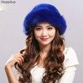 Autumn and winter women's real mink fur hat fox Russian sun hat Fashion warm natural fur mink and fox fur knitted Beanies