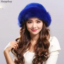 Осенью и зимой женщин реальный норки меховая шапка лиса солнце Русской шляпа Моды теплый натуральный мех норки и лисий мех трикотажные Шапочки