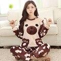 2016 Mulheres Pijamas de Inverno Panda Pijama Unicornio Bonito Dos Desenhos Animados Homewear Manga Longa Tamanho Mais Solto Sleepwear Conjuntos de Pijama Femme
