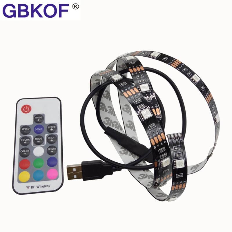 USB LED Strip 5050 RGB Kit Black PCB board Cuttable with 17Key/3Key RF Remote Controller 0.5M/1M/2M Set IP20/IP65 Waterproof