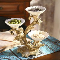 Retro Luxury European Fruit Plate Home Furnishing Jewelry Ornaments Compartment Tray Table Ornaments Dry Fruit