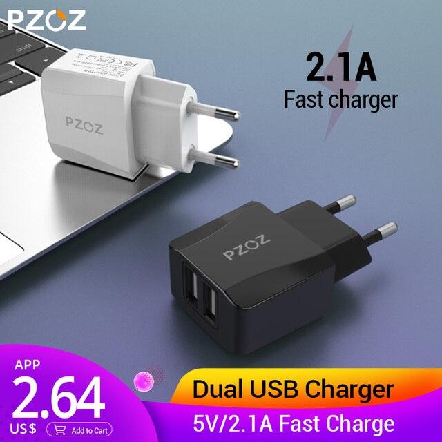 PZOZ cargador Usb viaje EU enchufe 2a adaptador de carga rápida portátil cargador de pared Dual cable de teléfono móvil para iphone Samsung xiaomi