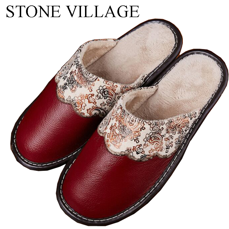 Winter Warm Plush Genuine Leather Slippers Men And Women Home Slippers Lovers Home Floor Anti-Slip Thick Bottom Indoor Shoes fashion autumn and winter indoor home lovers cotton drag floor plush slippers female slip resistant
