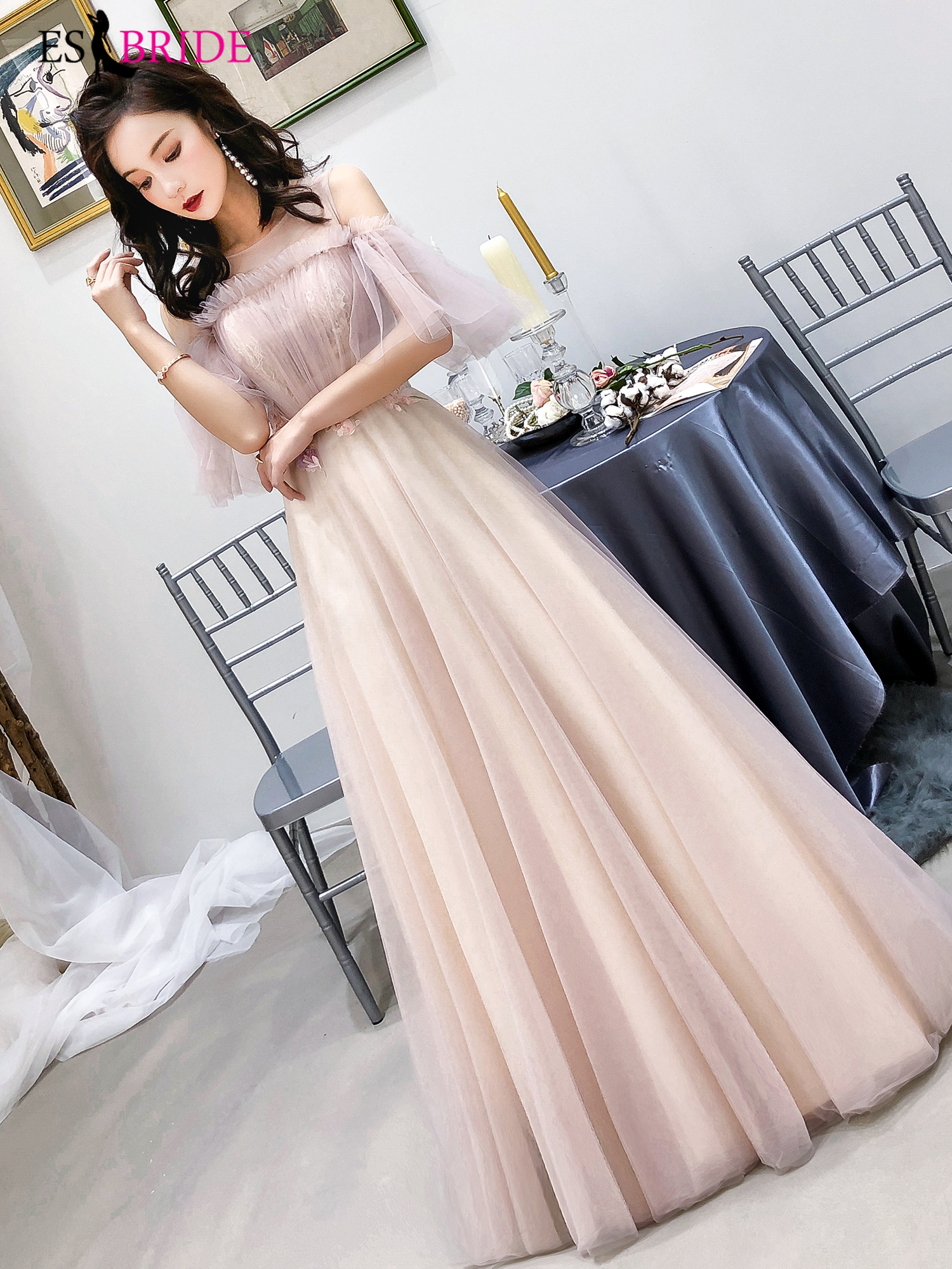 2019 Evening Dress Long Pink Prom Dress Vintage Formal Evening Gown A-line Formal Dress Women Elegant Evening Dresses ES2367