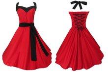 cotton dress red full circle swing womens party prom plus sizes large US 14-24 robe de soiree punk hip hop dresses corset back