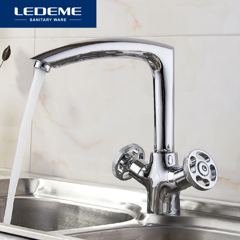 LEDEME Chrome plated Kitchen Faucet Seven Letter Design 360 Degree Rotation with Water Purification Features Double
