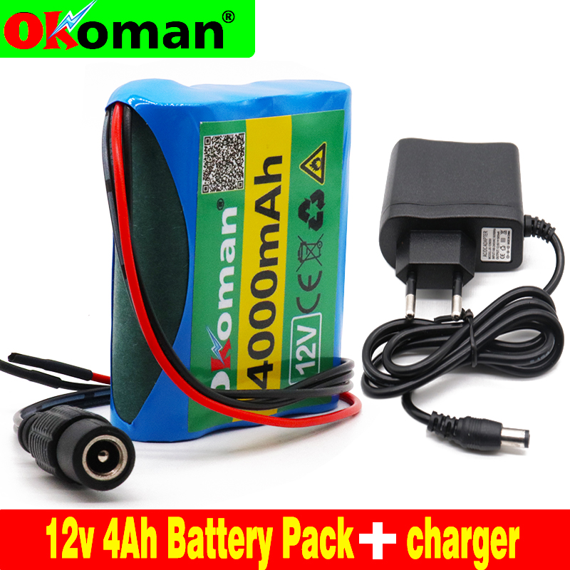 High Capacity 12V 4000mAh 18650 Li-ion Rechargeable Battery Pack For CCTV Camera 3A Batteries+ 12.6V EU US Charger+Free Shopping