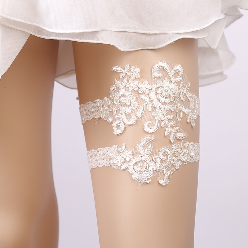 1 set Women sexy Wedding Bridal prom party Lace Floral Garter Belt Leg Ring  elastic thigh ring vintage Ivory color
