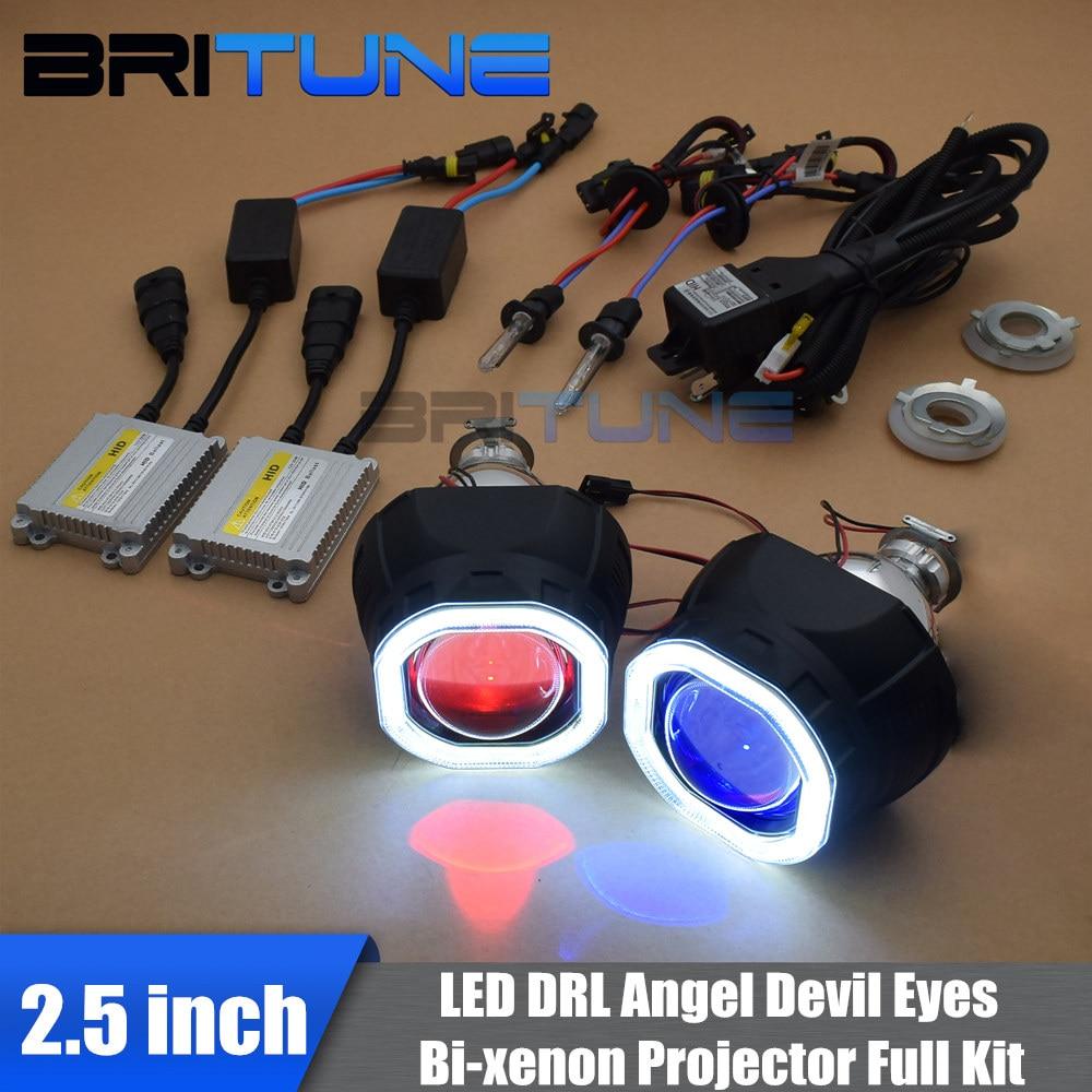Auto Headlight HID Bi xenon Projector Lens Square COB Angel Devil Eyes Black Full Kit 2.5'' LED DRL H1 H4 H7 Cars Styling Lights