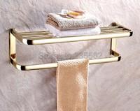 Luxury Gold Color Brass Fixed Bath Towel Holder Bathroom Wall Mounted Towel Rack Holders lba841