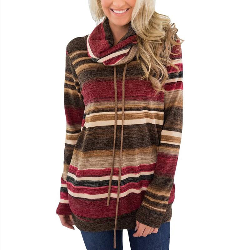 2018 Autumn New Long Sleeve Rainbow Stripe T Shirt Plus Size Loose Pile Collar Women T-shirt Cotton Slim Fashion pocket Woman