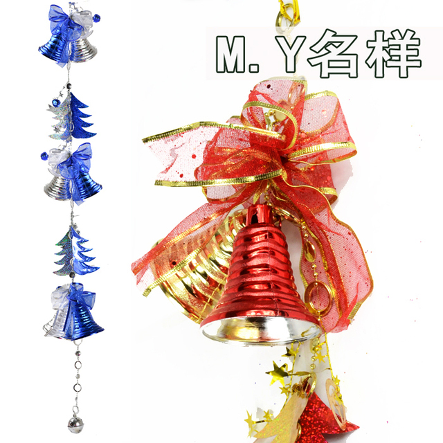 New arrival Christmas hanging  Decoration 100cm shining blue red string of bell of christmas tree