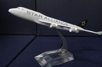 20CM plane model Boeing 747 400 Star Alliance aircraft B747 Metal simulation airplane model for kid toys Christmas gift