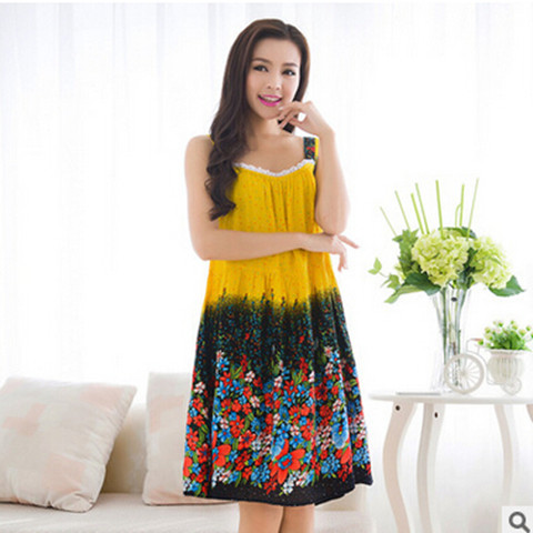Home Clothes Sleepwear Women Nightgown Sexy Strapless Print Women's Sleep Shirt Dressing Gowns Plus Size Ladies Nightshirt 1