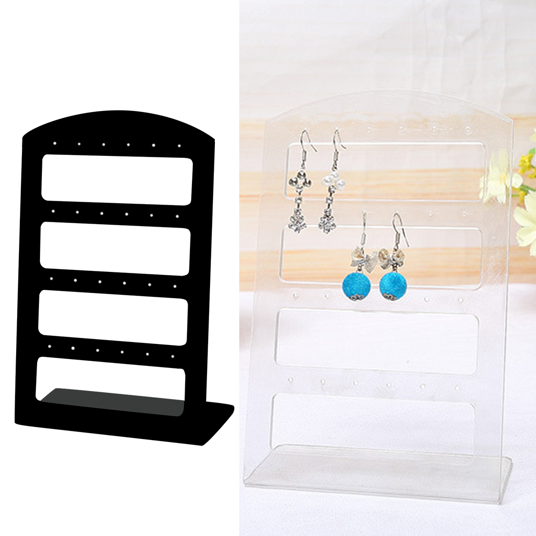 24 Holes Jewelry Organizer Stand Black Plastic Earring Holder Fashion Earrings Display Rack