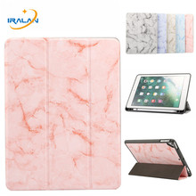 Marble Leather Magnetic Silicone Back Case For iPad 9.7 2018 With Apple Pencil H