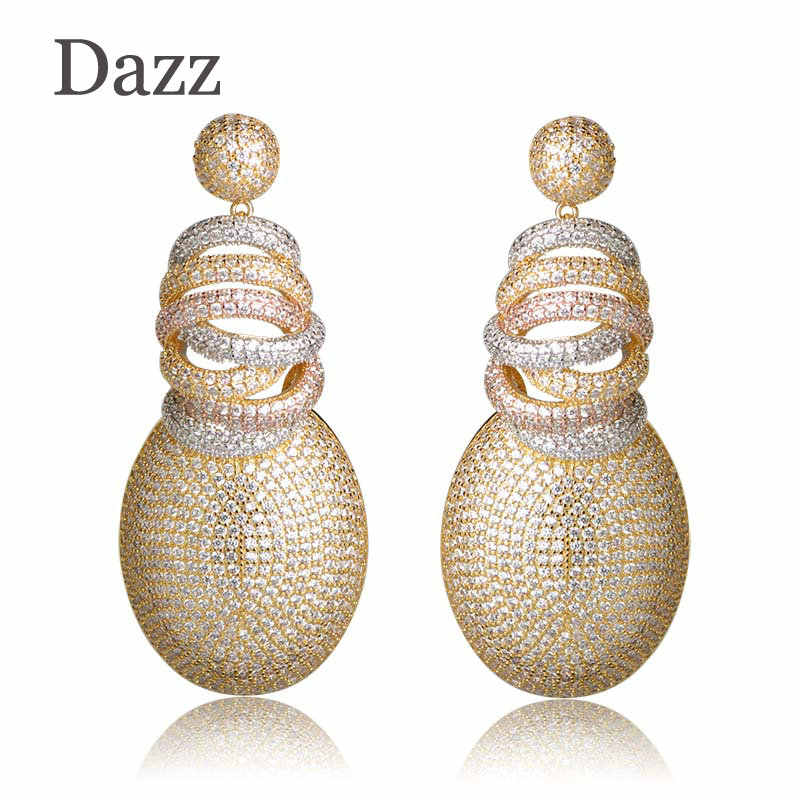 Dazz Full Mirco Pave Cubic Zircon Earrings For Woman Ladies Gold Color Dubai Wedding Copper Jewelry Dangle Earring Pendientes