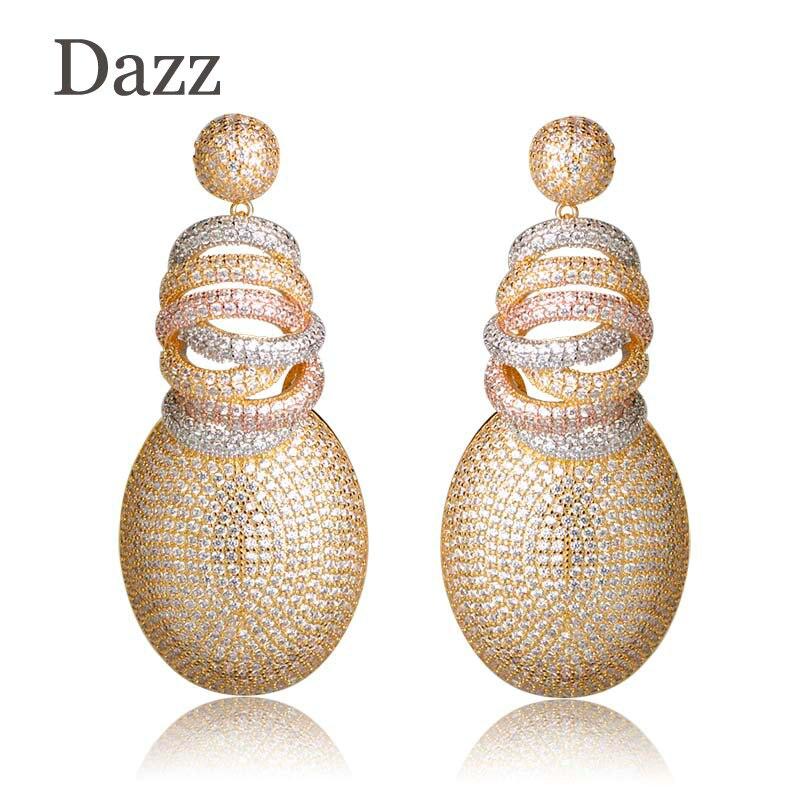 Dazz Full Mirco Pave Cubic Zircon Earrings For Woman Ladies Gold Color Dubai Wedding Copper Jewelry Dangle Earring Pendientes