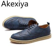 Akexiya Hombres de Cuero Zapatos Casuales Brogue hombres Pisos Zapatos Para Hombres de la Marca de Lujo de Cuero Genuino Tamaño Grande Oxfords Hombre calzado