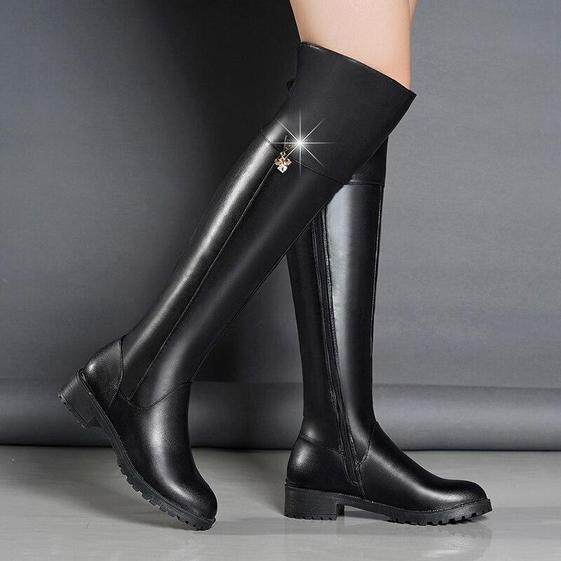Mode femme automne et hiver chaud faux cuir Martin bottes chaud imperméable confortable neige botte laine mode fourrure