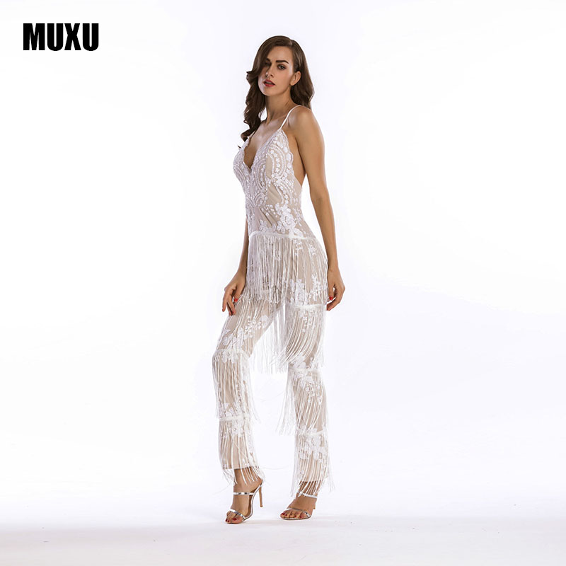 MUXU white sequin glitter jumpsuit bodysuit feminino sexy long jumpsuit women summer transparent sleeveless jumpsuits suspender