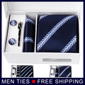 New  Navy straped Men's Necktie Gift Sets tie sets 8.5CM  Ties+Cufflinks+Pocket square+Gift Box Free Shipping