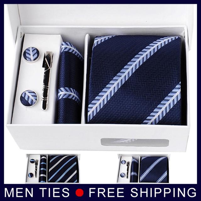 Nova straped homens gravata define conjuntos de 8.5 CM gravata + abotoaduras + bolso praça + frete grátis