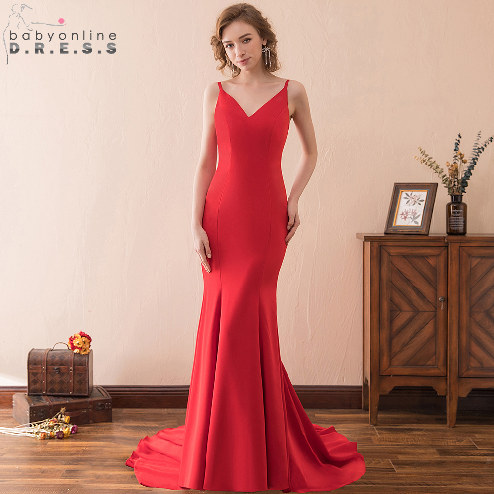 Babyonline Sexy Backless Red Mermaid   Evening     Dresses   2019 Sexy V Neck Formal Party Gowns Court Train Vestido De Festa