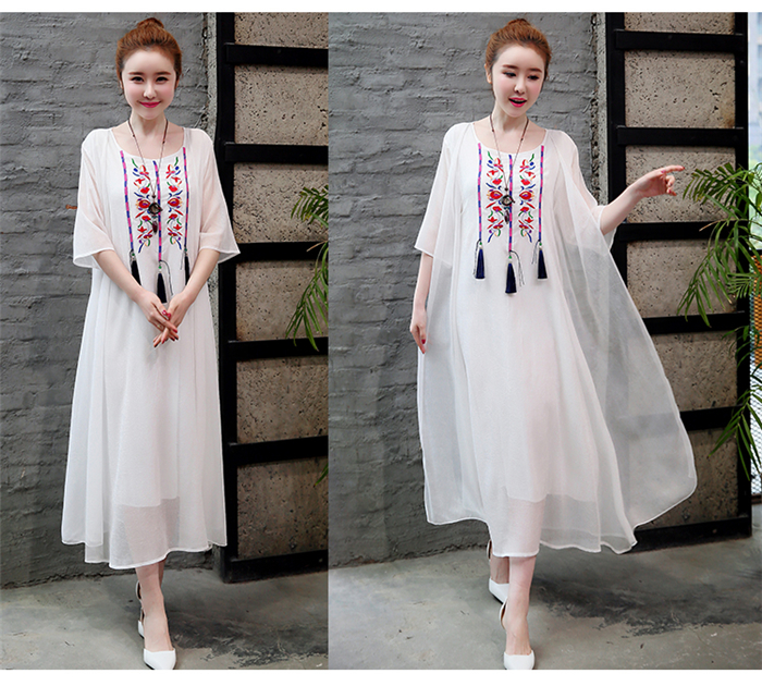2019 New Cotton Linen Casual 2 Pieces Women Dresses Slim Sleeveless Dress And Cardigan Summer Embroidery Chinese Style Dress 9
