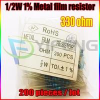 NEW 200pcs 330 Ohm 1/2W 330 R Metal Film Resistor 330Ohm 1/2W 1% ROHS