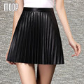 Black PU leather skirts women mini pleated skirt faldas jupe saia etek sexy slim empire skirt Free shipping LT217