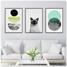 3 Panel Cat Canvas Painting Nordic Poster Animals Wall Art Prints Pictures For Child Kids Room Home Decor Unframed