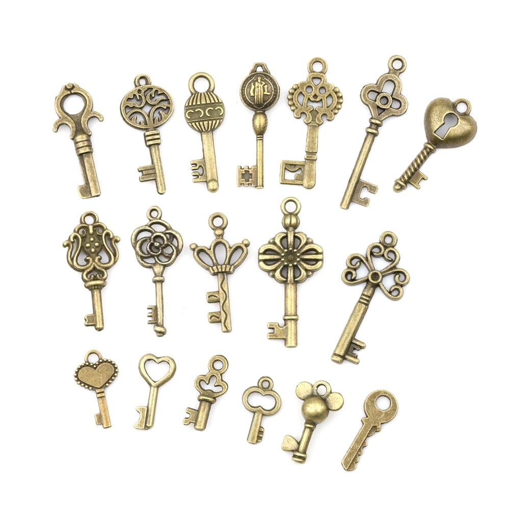 18pcs/sets Bronze Ornate Skeleton Keys Lot Antique Vintage Old Look Necklace Pendant Fancy Heart Decor DIY Craft Gifts