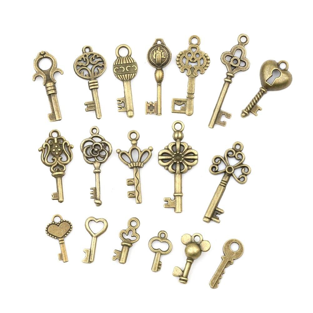 Chaves de esqueleto bronze ornamental, 18 pçs/sets, antiguidade, vintage, olhar antigo, colar, pingente, fantasia, decoração de coração, diy, presentes, artesanato