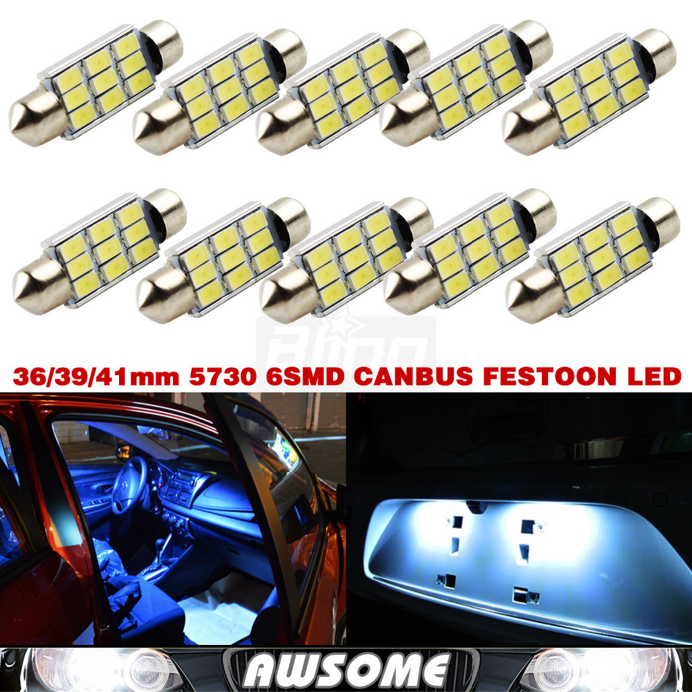 10x Super Bright Festoon CANBUS ERROR FREE Xenon White 36MM C5W 5730 5630 9SMD LED Dome Interior Courtesy Licence Plate Light 2pcs lot 36mm 5630 smd 6 led canbus error free led dome light bulbs car dome light white warm white festoon light
