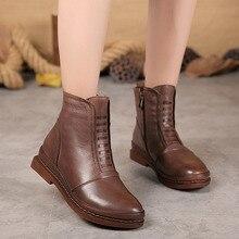 Осенне-зимняя обувь новые сапоги Детская Женская кожаная обувь повседневные ботинки в стиле ретро женские ручной работы женские ботинки