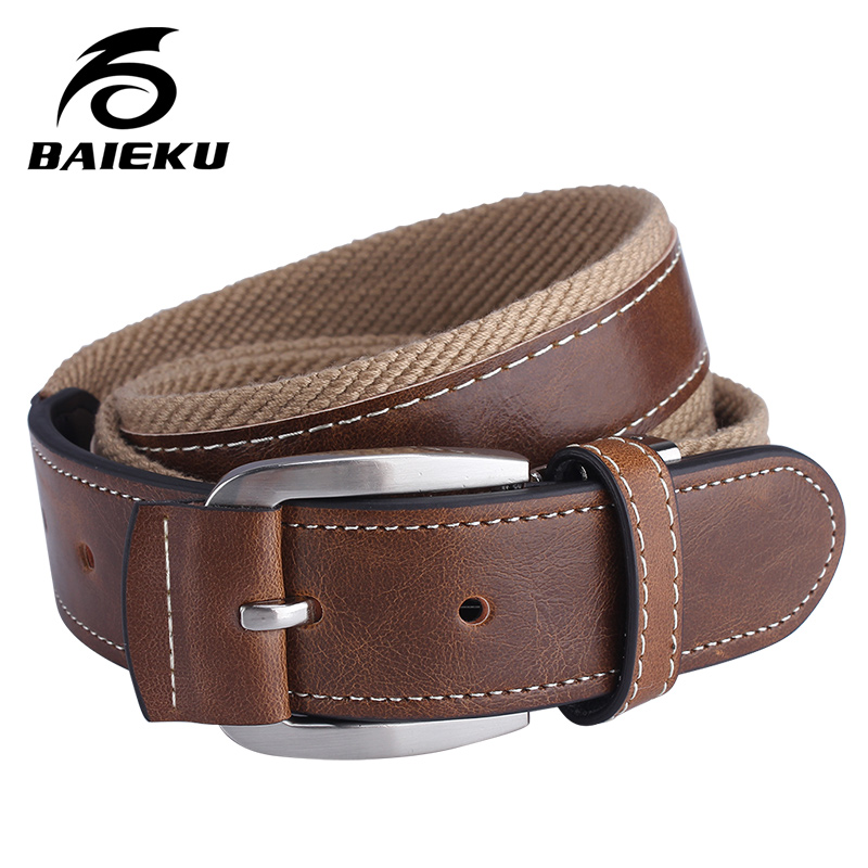 Baieku  Trendy Men's Canvas Belt Combination Of Canvas And Leather Fashion Design Young Man's Jeans Accessories Belts
